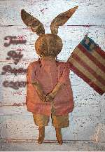 Primitive Americana Easter Rabbit Doll & Flag E-pattern