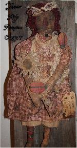 Very Primitive Grungy Olde Raggedy Annie Doll w/ Daisy & Ladybugs Pattern