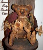 Primitive Grungy Bear Doll With Daisy, Crow & Honey Bees Pattern