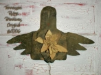 Primitive grungy Black Angel With Daffodils Door Doll