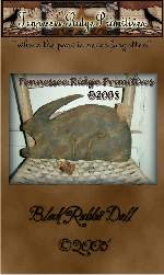 Primitive Grungy Black Sculpted Rabbit Doll E-pattern