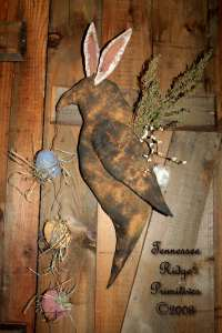Primitive Grungy Dirty Easter Bunny Rabbit Crow Door Doll With Eggs & Bunny Ears Pattern