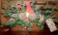 Primitive Grungy Dirty Christmas Cardinal & Snowman Sewing Drawer Lamp Pattern