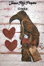 Primitive Grungy Valentines Cupid Crow Door Doll E-pattern