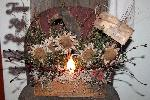 Primitive Grungy Cheese Box Lamp With DaisiesLadybugCrow E-pattern