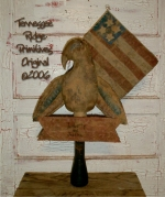 Primitive grungy Americana Eagle Make Do E-pattern
