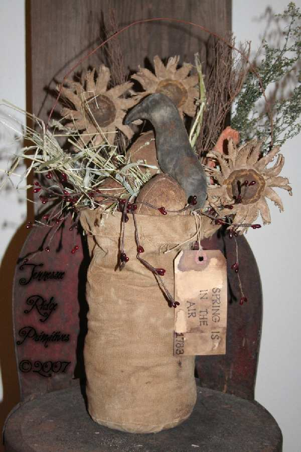 Primitive Easter Basket With DaisiesCarrotsQuilt Eggs N Crow E-pattern