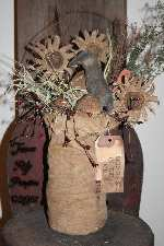 Primitive Easter Basket With DaisiesCarrotsQuilt Eggs N Crow Pattern
