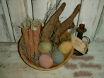 Primitive Grungy Dirty Easter Eggs, Carrots & Chocolate Bunnies