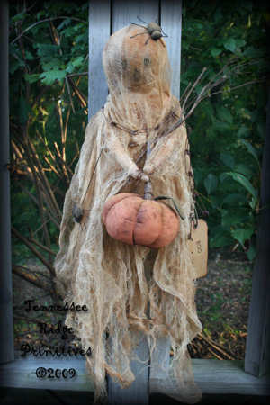 Primitive Grungy Halloween Ghost Door Doll With Pumpkin & Spiders Pattern