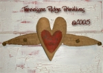 Primitive Dirty Grungy Heart With Wings Door Hanger E-pattern