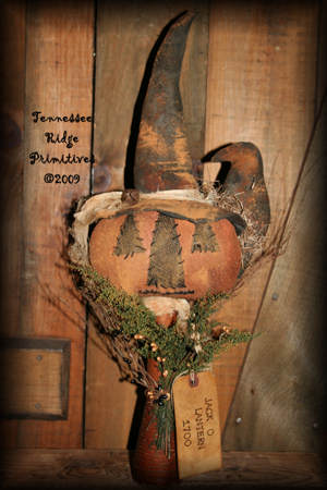 Primitive Grungy Halloween Fall Jack-O-Lantern Witch With Crow Make Do Pattern