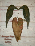 Primitive Dirty Grungy Kissing Crows & Heart Door Hanger Dolls