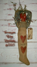 Primitive Dirty Grungy Kissing Crows Stocking e-pattern