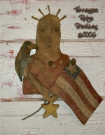 Primitive grungy Americana Liberty Nail Head Door Doll E-pattern