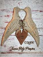 Primitive Grungy Valentines Love Birds & Heart Door Hanger E-pattern