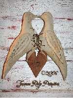 Primitive Grungy Valentines Love Birds & Heart Door Hanger Pattern