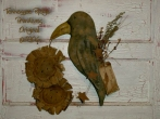Primitive Grungy Black Crow Door Hanger With Sunfllowers E-pattern