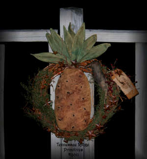 Primitive Grungy Dirty Pineapple & Crow Wreath 2011 Pattern