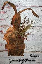 Primitive Grungy Easter Rabbit With Quilt Pocket Door Doll Pattern