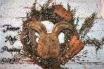 Primitive Grungy Easter Rabbit & Carrots Wreath Door Hanger E-Pattern