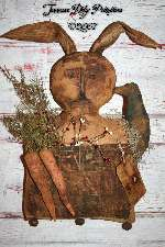 Primitive Grungy Rabbit Door Doll With Quilt Pocket, Carrots N Crow E-Pattern