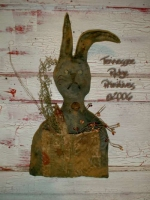 Primitive Dirty Grungy Black Rag Stuffed Rabbit Doll Door Hanger E-pattern