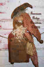 Primitive Christmas Grungy Santa Door Doll With Crow On HIs Head Pattern