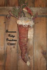 Primitive Grungy Dirty Santa Hat Door Hanger With Santa Crow Pattern
