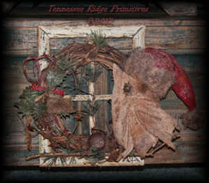 Primitive Grungy Christmas Santa Owl Wreath Door Hanger Pattern