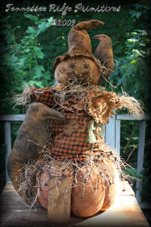 Primitive Grungy Halloween Scarecrow On A Pumpkin With Sunflower & Crows Door Greeter Pattern