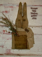 Primitive Dirty Grungy Simple Folk Art Rabbit Door Doll