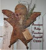 Primitive Grungy Christmas Snow Angel Star Door Hanger E-Pattern