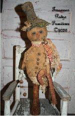 Primitive Grungy Christmas Snowman & Candy Cane Make Do Pattern