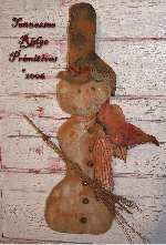 Primitive Grungy Christmas Snowman & Cardinal Door Doll E-pattern