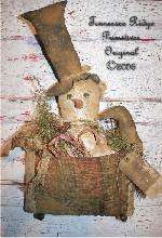 Primitive Antiqued Snowman Door Doll With Crow Pattern