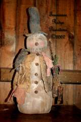 Primitive Grungy Dirty Christmas Snowman Doll With Quilt Vest, Mittens & Crow Pattern