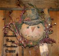 Primitive Christmas Snowman Head With Crow Wreath Door Hanger Pattern
