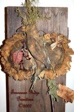 Primitive Grungy Sunflowers Door Hanger With CrowBeeLadybug Pattern