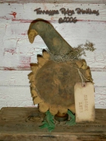 Primitive Dirty Grungy Sunflower & Crow Make Do