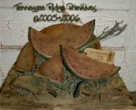 Primitive Dirty Grungy Watermelon & Crow Ornies E-pattern