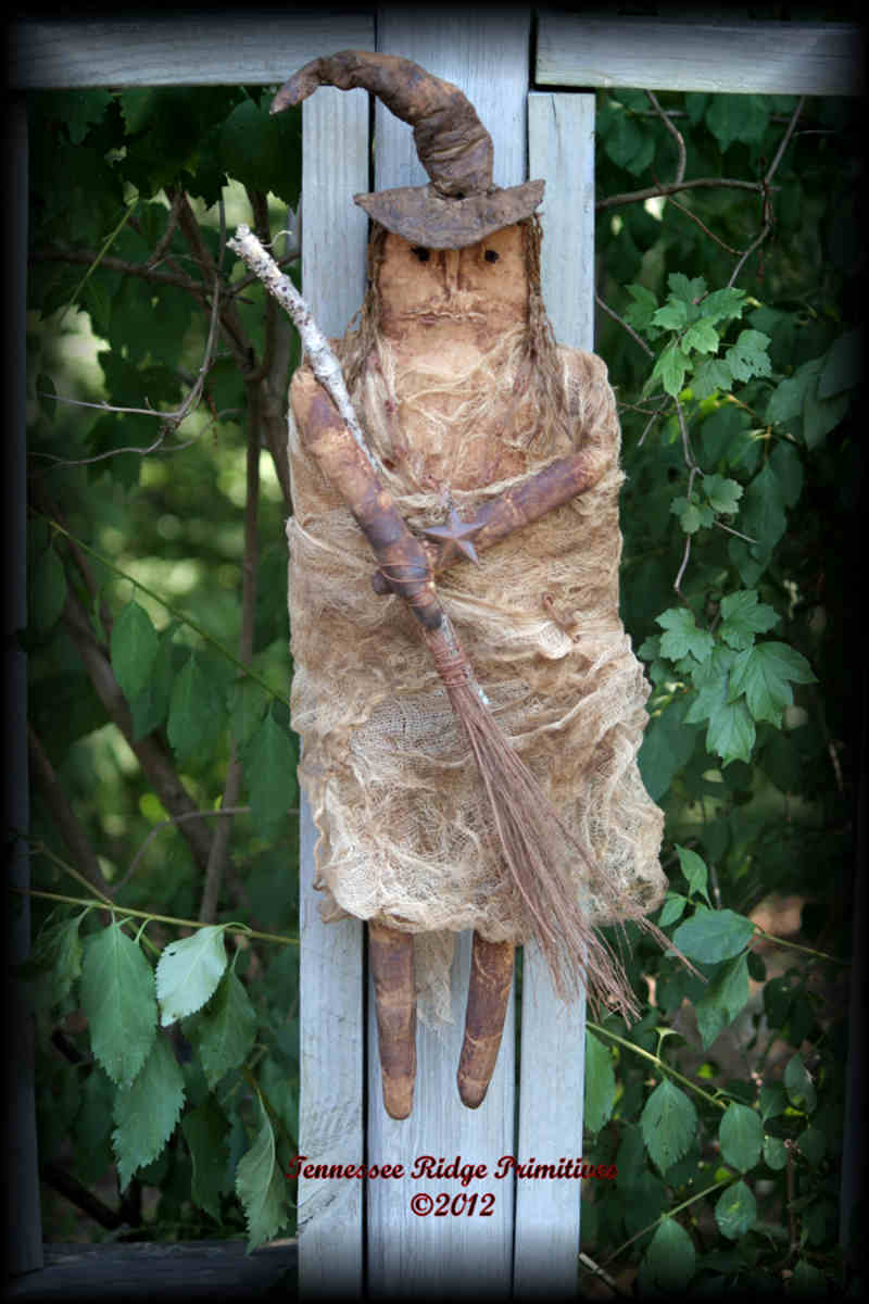 Primitive Grungy Halloween Fall Witch Doll With Broom 2012 E-pattern