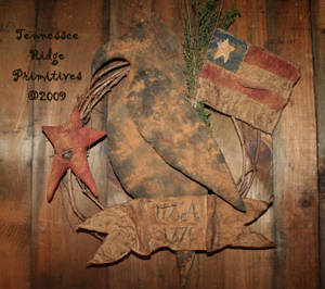 Primitive Americana Crow With Flag And Banner Wreath Pattern