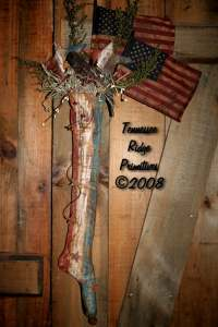Primitive Grungy Americana Stocking With Stars, Crow & Flags Pattern