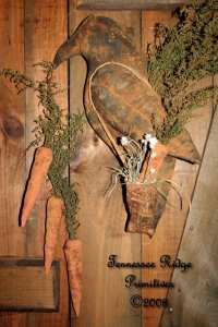 Primitive Grungy Crow Door Doll With Carrots & Quilt Sack Pattern