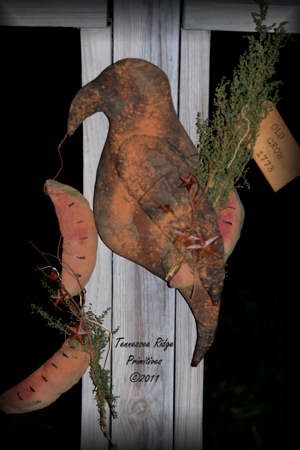 Primitive Grungy Summer Time Crow Door Doll With Watermelons Epattern
