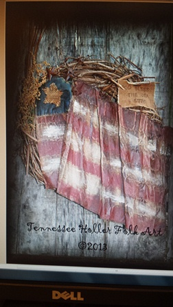 Primitive Americana Flag Wreath