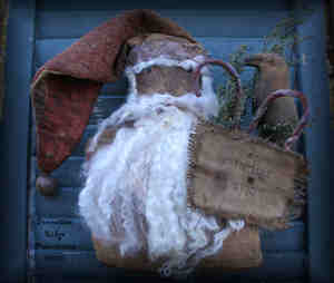 Primitive Grungy Santa Door Doll with Quilt Hat Pattern