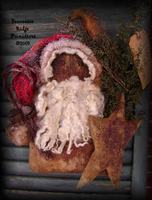 Primitive Grungy Christmas Santa Door Doll With Star & Crow Pattern