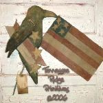 Primitive grungy Americana Crow & Flag Door Hanger E-pattern